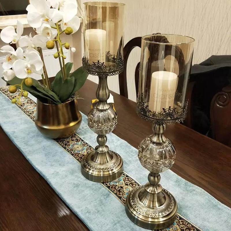 Luxury model room crystal glass candlestick European American table vintage copper plated metal candle holder feather container
