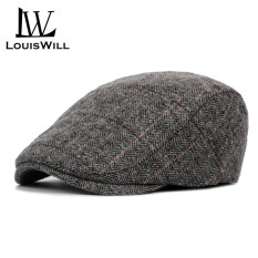 LouisWill Men Berets Hats Woolen Cloth Berets Caps Autumn and Winter Berets Outdoor Sunscreen Peaked Caps Fashion England Checkered Golf Flat Caps Casual Hats Berets for Men