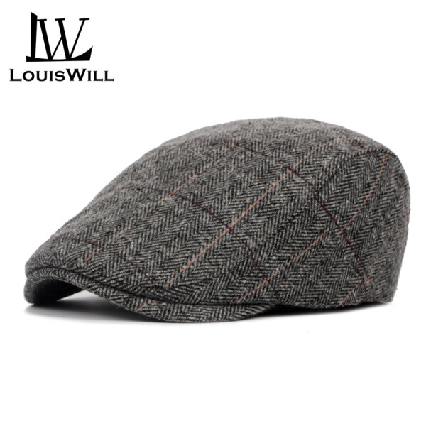 LouisWill Men Berets Hats Woolen Cloth Berets Caps Autumn and Winter Berets Outdoor Sunscreen Peaked Caps Fashion England Checkered Golf Flat Caps Casual Hats Berets for Men
