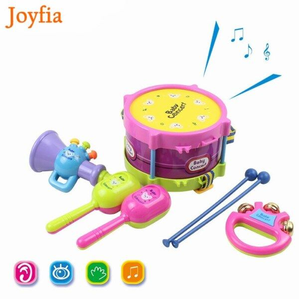 5pcs/Set Baby Musical Instruments Playing Set Toys Colorful Drum / Handbell / Trumpet / Cabasa Educational Toy for Children # Malaysia