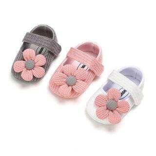 Giày Bệt Cho Bé Hình Hoa Lớn Dễ Thương Giày Công Chúa Dệt Kim Cotton Cho Bé Gái Giày Tập Đi Đế Mềm Chống Trượt thumbnail