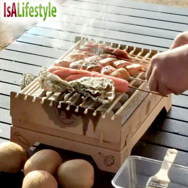 IsALifestyle Disposable Grill Portable BBQ Box Easy Burn Charcoal One Time Grill Set Keep Burning above 90min+ BBQ at Home Outdoor Camping Garden Indoor Barbecue