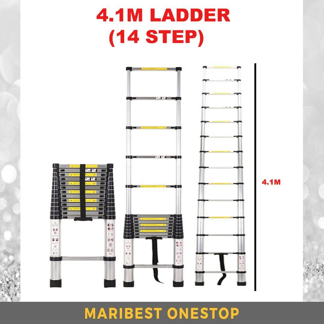 HIGH QUALITY ALUMINIUM TELESCOPIC EXTENDABLE LADDER 4.1M WITH 14 STEPS TANGGA