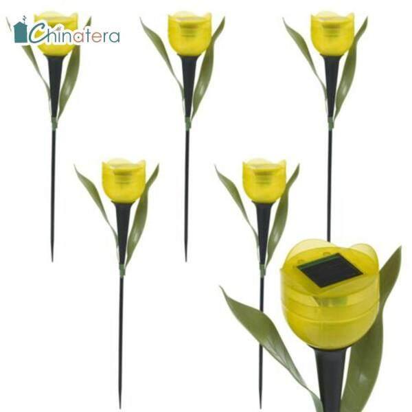 [Chinatera] 6 Đèn LED Năng Lượng Mặt Trời Hình Hoa Tulip, Gậy Đèn Trang Trí Bãi Cỏ Cảnh Quan Sân Vườn Ngoài Trời