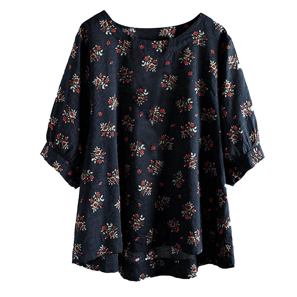 9c34f1f28edb Womens Casual Plus Size Cotton Tops Tee T Shirt Vintage Boho Floral Loose  Blouse