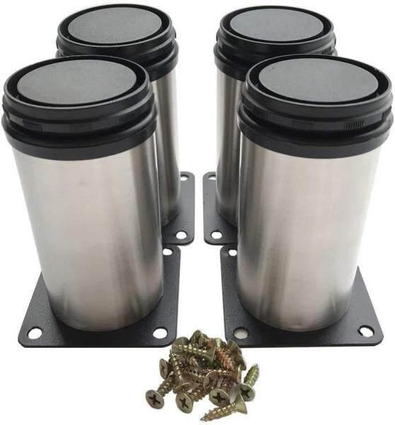 (4-Pack) Furniture Cabinet Metal Legs Kitchen Adjustable Stainless Steel Feet Round (10CM),with Screws