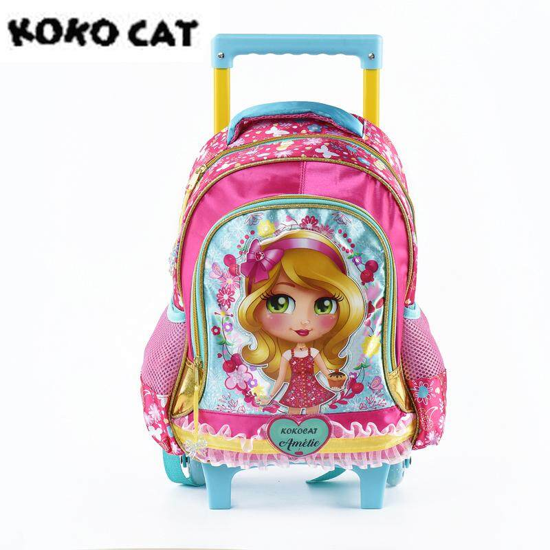 School Kids Rolling Luggage Cartoon Trolley Bag Children Primary School Orthopedic Suitcase Backpack for Girl Schoolbag Knapsack Hard Side Shell Travel Barbie Butterfly Satchel