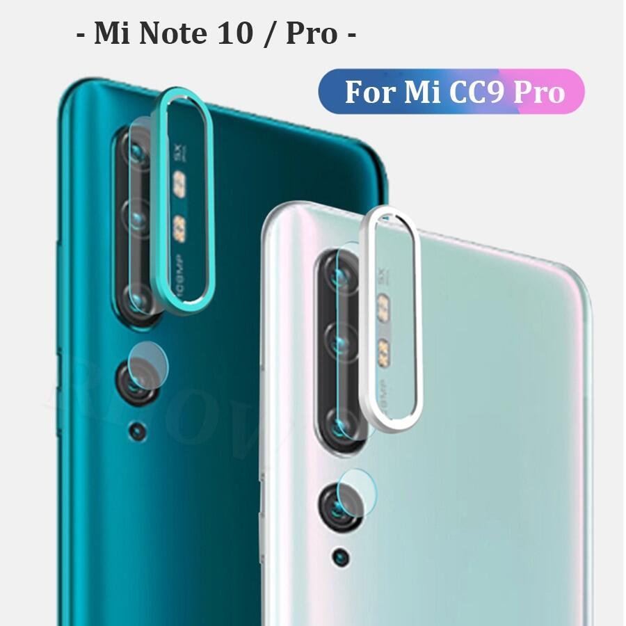 โลหะวงแหวนรูปกล้อง Len สำหรับ Xiaomi หมายเหตุ 10 10 ฟิล์มแก้วแบบโปรสำหรับ Redmi Note 8 8t Pro 7 ปกป้องหน้าจอทั่วโลกสำหรับ Xiaomi Mi Cc9 9 Lite.