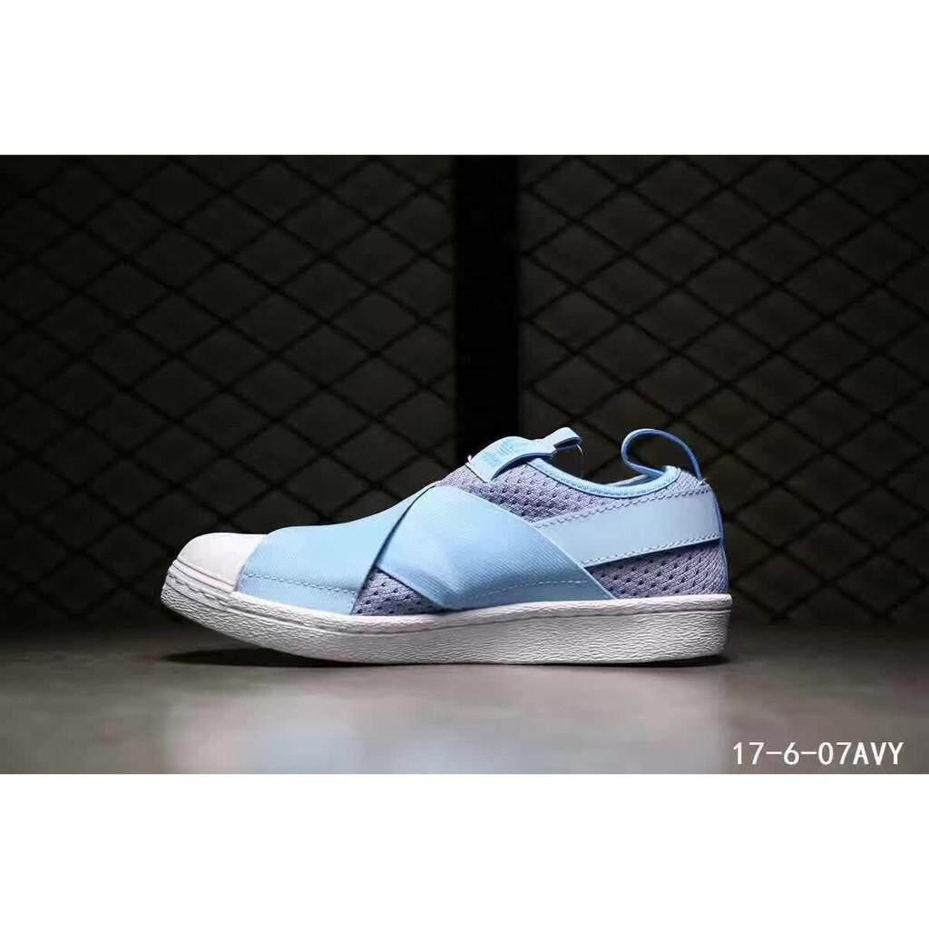 original adidas superstar slip on light blue breathable women sport shoe 36-40