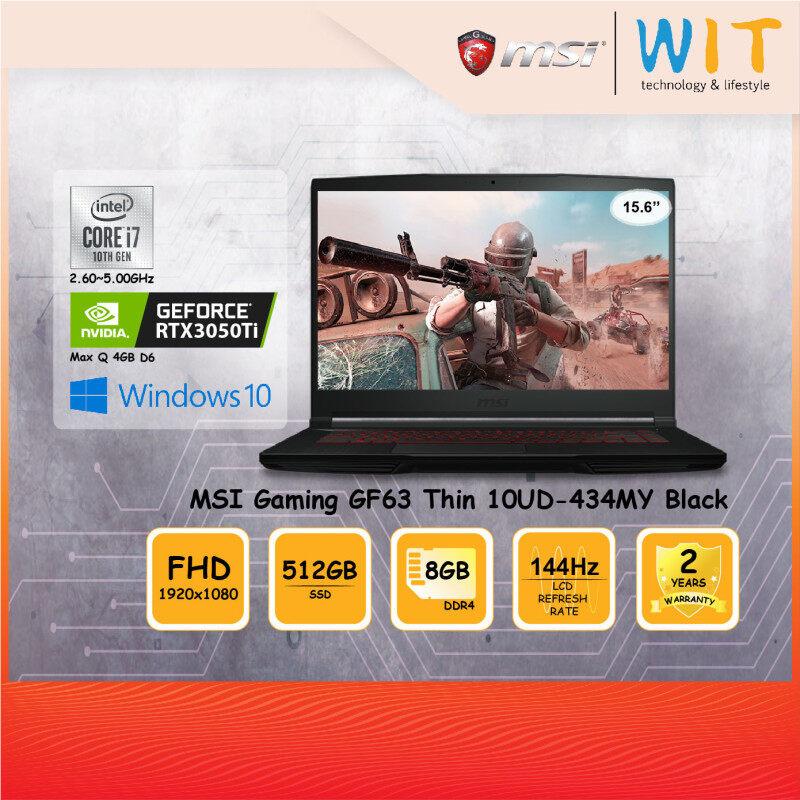 MSI Gaming Laptop GF63 Thin 10UD-434MY Black/Intel Core i7-10750H 2.60~5.00GHz/8GB DDR4/512 SSD/15.6FHD 144Hz/NVD RTX3050Ti Max Q 4GB D6 Malaysia