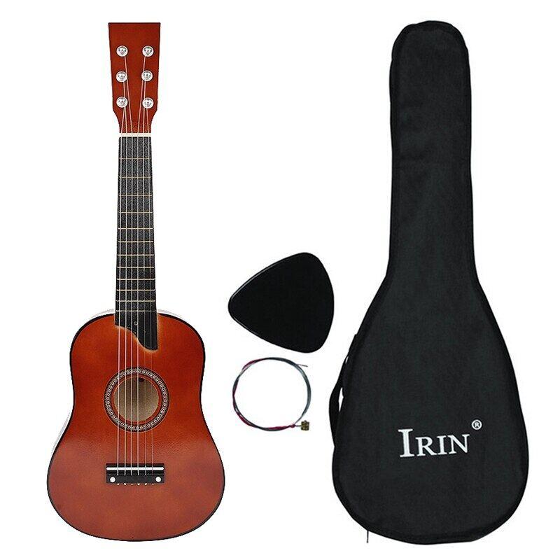 Bass 25 Inch Acoustic 12 Phím Đàn Guitar 6 Dây Có Lựa Chọn Và Dây Cho Trẻ Em Mới Bắt Đầu Màu Cà Phê