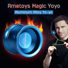 Ametoys V4 Professional Magic Yoyo Hợp Kim Nhôm Tốc Độ Cao Yo-yo Máy Tiện CNC KK Mang Với Dây Kéo Sợi Cho Bé Trai Bé Gái Trẻ Em Màu Xanh
