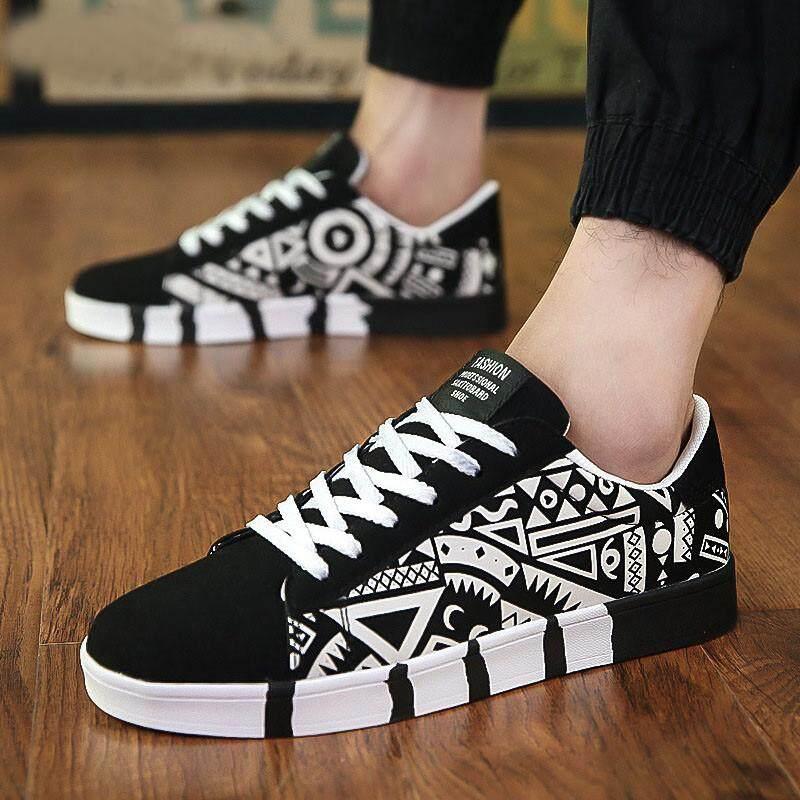5e5521fe8f4bc LINGMU Men Casual Canvas Shoes Fashion Print Sneakers Summer Trainers  Leisure Shoes Men's Flats Slip Shoes