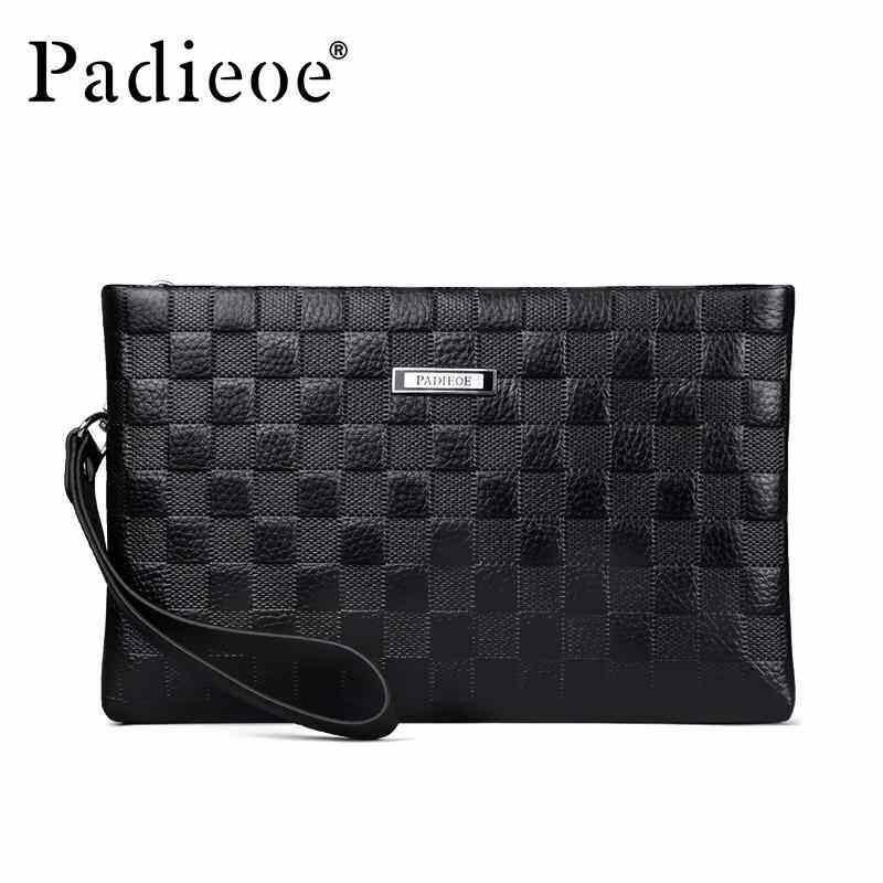 EverPro Padieoe Men's Wallet Genuine Leather Handbag Coin Purse Clutch Bag Business Wallets High Capacity Fashion Zipper Coin Wallet Black