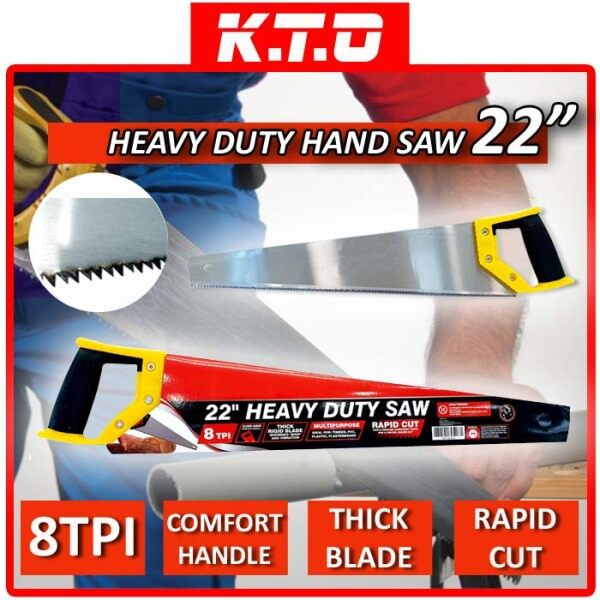 22INCH HEAVY DUTY MULTIPURPOSE HAND SAW IDEAL FOR TIMBER, PVC, PLASTIC, PLASTERBOARD / GERGAJI