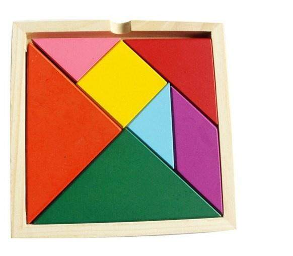 Wooden Pattern Blocks Set, Baby Puzzle Tangram, Wood Jigsaw Puzzles Educational Toys For Children Kids By 388 Chubbytoys.