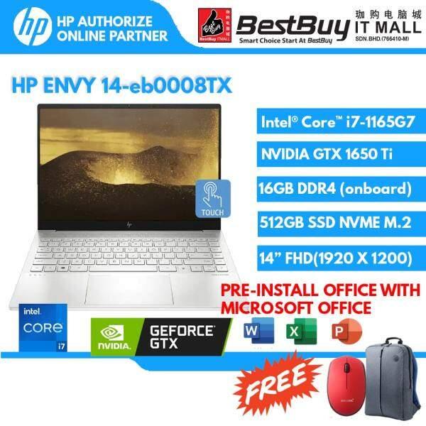 HP ENVY 14-eb0008TX Laptop (I7-1165g7/16gb/512gb ssd/gtx1650ti 4gb/opi/natural silver-fingerprint reader/2yr+adp) Malaysia