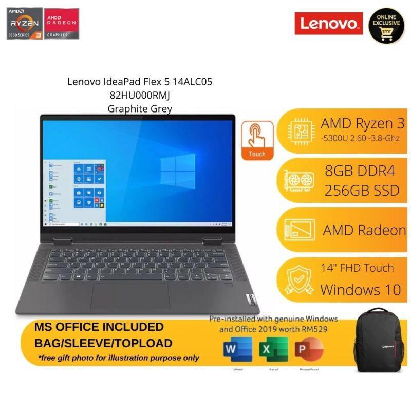 Lenovo IdeaPad Flex 5 14ALC05 82HU000RMJ Grey Laptop | Ryzen 3 5300U | 8GB RAM 256GB SSD | 14 Touch-Pen | MS OFFICE+BAG Malaysia