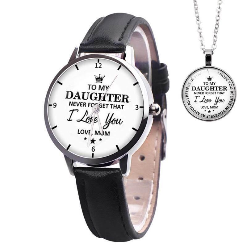 ✿ Fashionhall Store ✿(Free Shipping/Hot Selling) 2pcs/set Leather Band Watch Pendant Necklace Women Analog Quartz Watches Malaysia