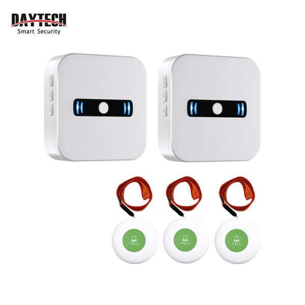 DAYTECH Calling System Pager SOS Call Button Alert System Caregiver Pager 2 Portable Batteries Receivers & 3 SOS Transmitters for Elderly Patient Personal in Home/Nursing Home/Hospital CC02