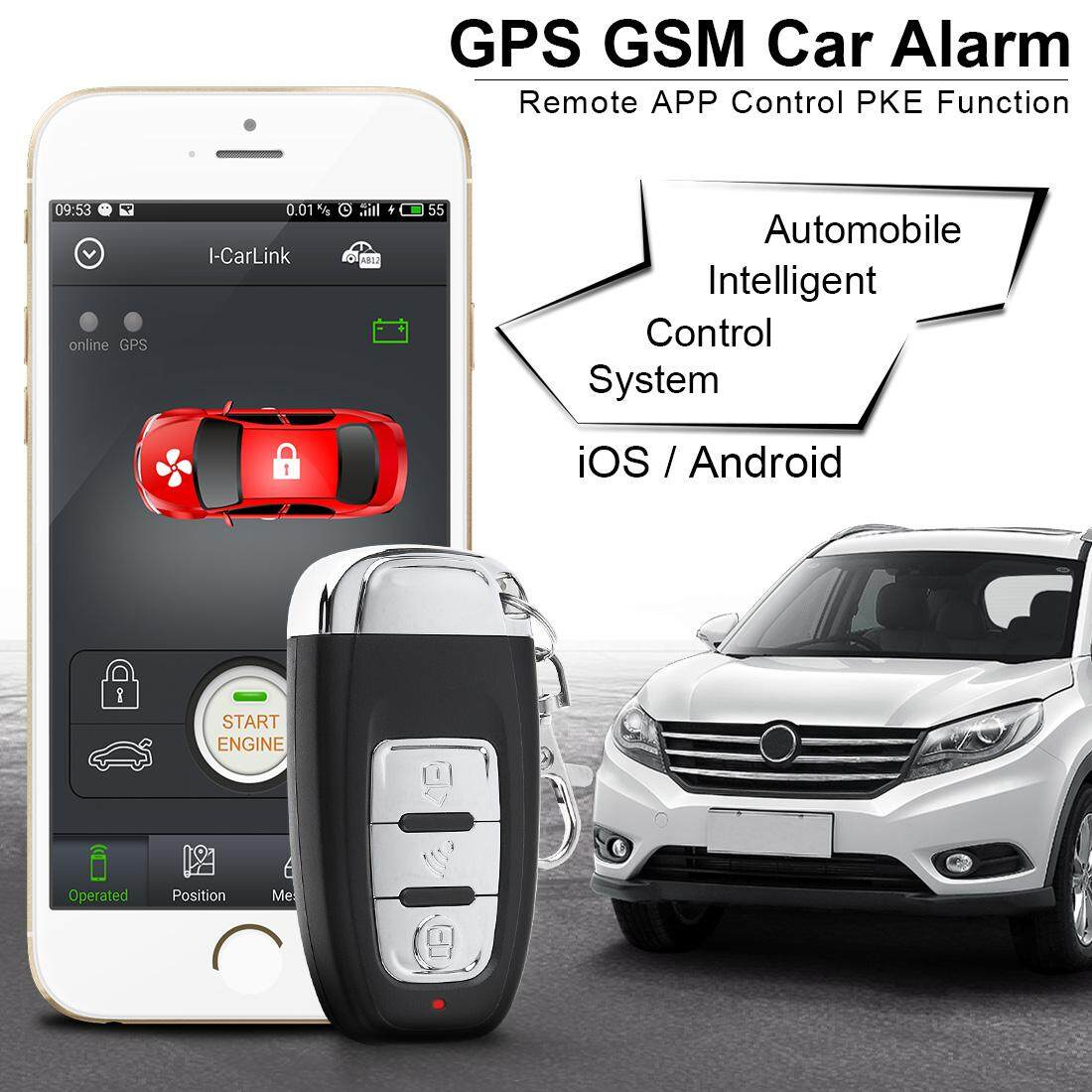 Car Smart Alarm Remote Start Stop Engine Initiating System Keyless Entry Anti-theft