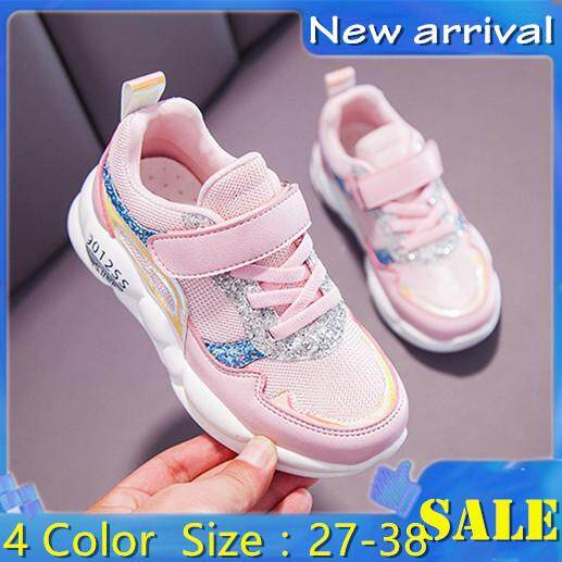 Hàn Quốc Plus Size Trẻ Em Kim Sa Nhung Giày Thể Thao Bé Gái sinh viên Canvas Lưới Giày Đế Mềm