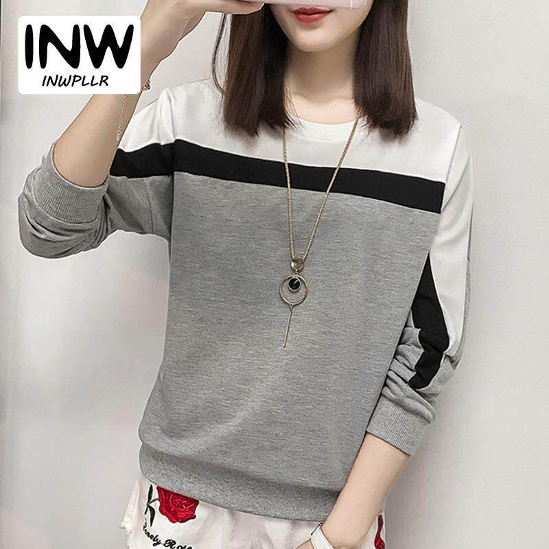 8407b9daf92 INWPLLR New Korean Style T Shirt For Women Casual Patchwork Tshirt Women  Long Sleeve T-