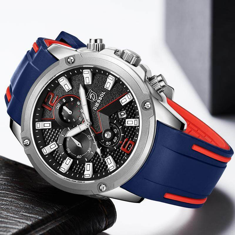 DIESSOL New Mens Watches Top Brand Luxury Casual Sport Quartz Clock Men Fashion Rubber Strap Waterproof Military Chronograph Watch Malaysia