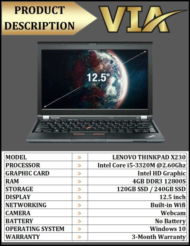 【NO BATTERY】Ultrabook LAPTOP LENOVO ThinkPad X230~Core i5~4Gb~120GB SSD/240GB SSD~W10~Wifi~Lightweight Malaysia