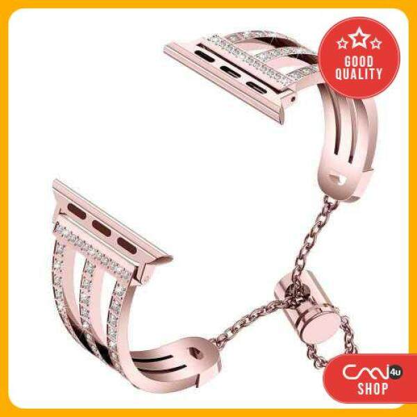 [OFFER] Three-row Diamonds Adjustment Chain Metal Alloy Stainless Steel Strap Watchband Replacement Smart Watch Accessory (Rose) Malaysia
