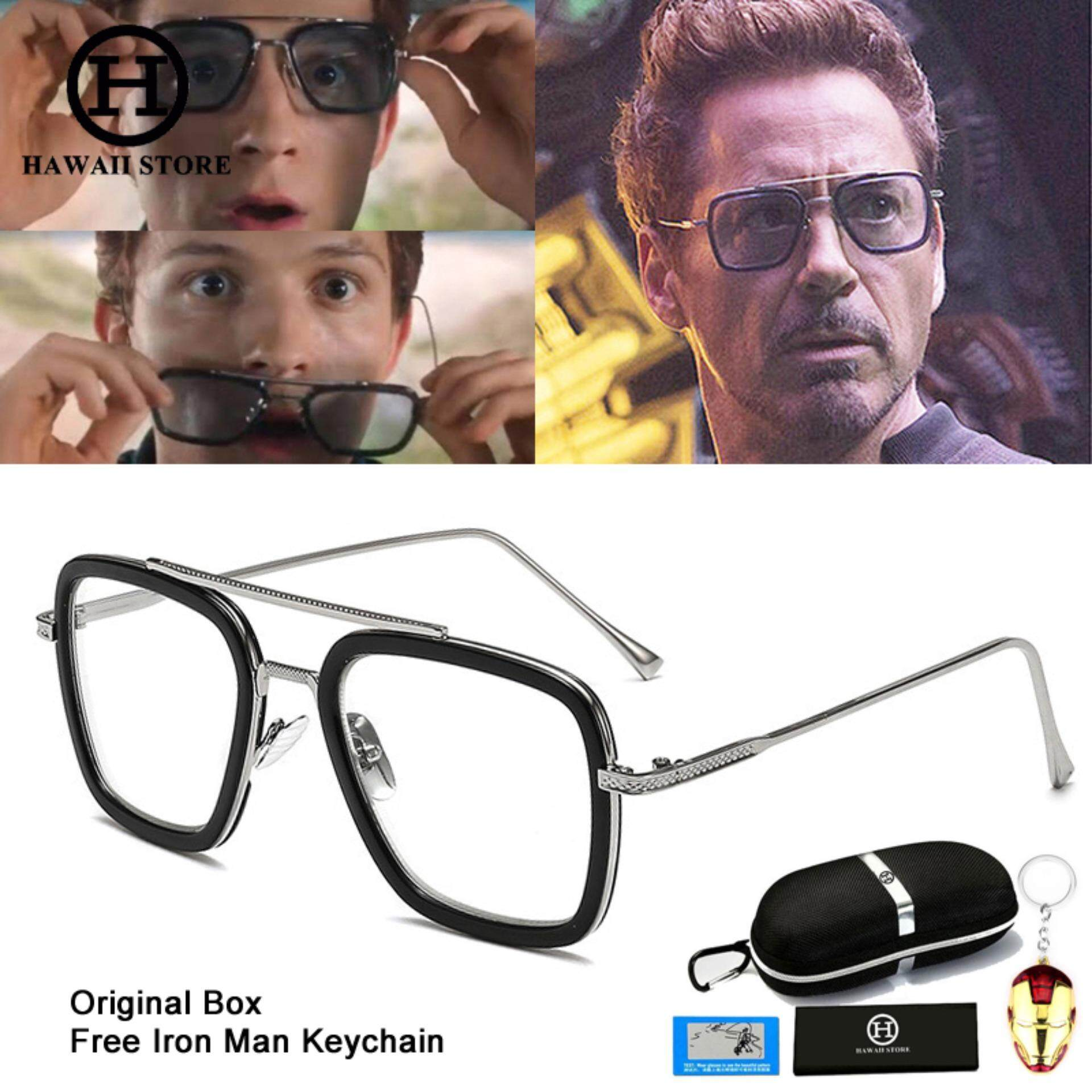 Hawaii Koleksi Fashion Avengers Tony Stark Penerbangan 006 Style Men Square Penerbangan Merek Desain Kacamata Hitam