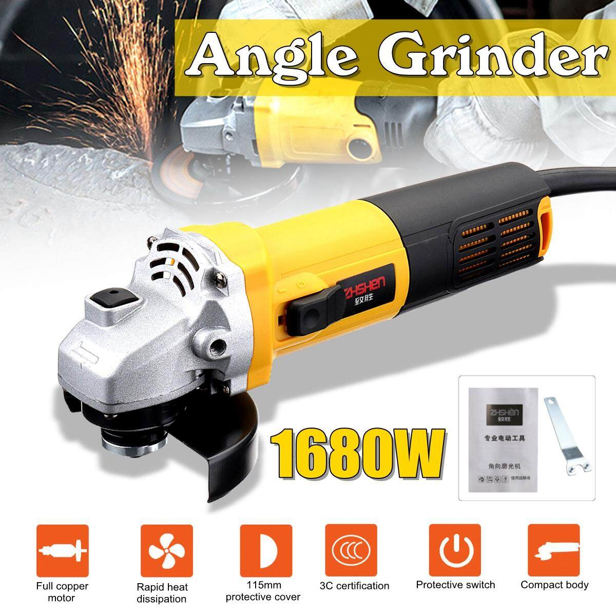 【Free Shipping + Flash Deal】220V/50Hz 1680W Electric Corded Angle Grinder Polisher Kit Grinding Machine with Wrench Metal Wood Cutting Power Tool