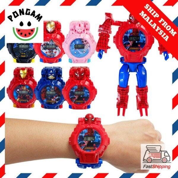 🔥Coolest Watch🔥 Transformation Toy Watch Digital Avengers Batman Ultraman Frozen Kid Jam Kanak Childen Girl Boy Malaysia