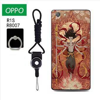 Untuk OPPO R1S/OPPO R8007 Case Telepon Lembut Silikon Pelindung Belakang Bergambar Casing Karet dengan Tali & Cincin 3in1 Q4 波妞