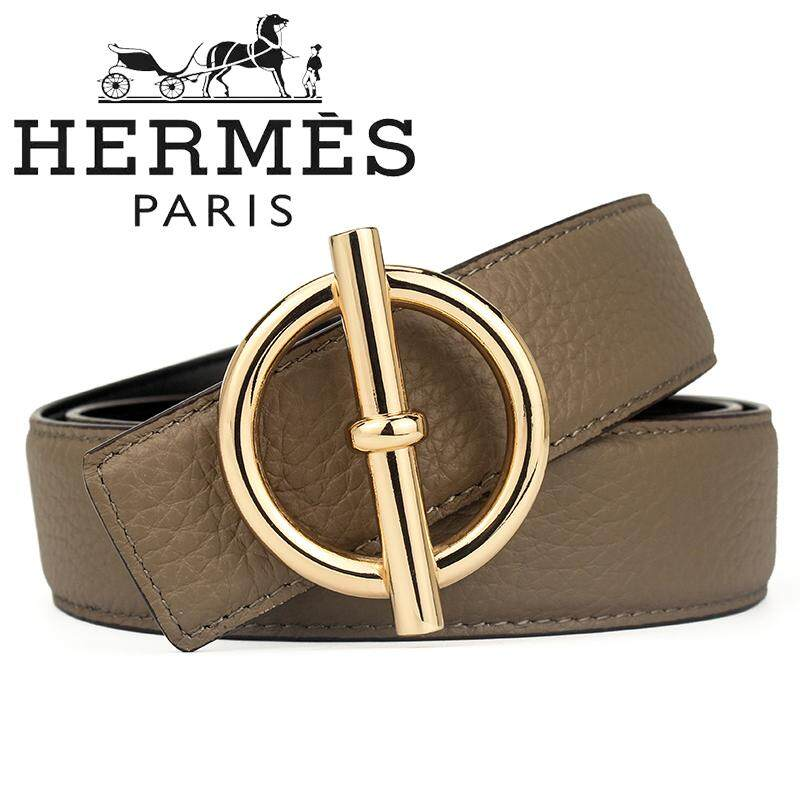 New Fashion_Hermes Waist Belt New Wild Fashion Men and Women Korean Classic Smooth Round Buckle Belt