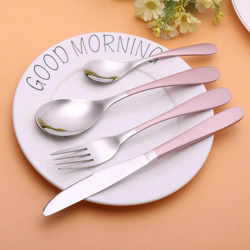 304 Stainless Steel dinnerware sets Pink Personalized Dessert Western Tableware Cutlery Dinner Set 4 Pieces Western Food Set