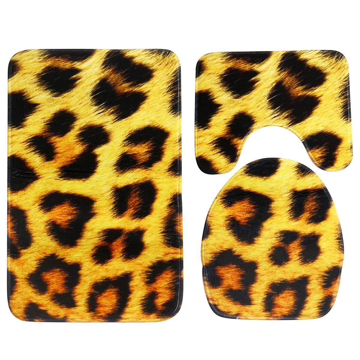 3 Sets dari Hewan Leopard Pola Alas Toilet Karpet Anti-Selip Keset Lantai Di Kamar