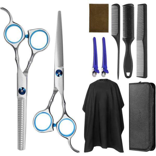 Buy Hair Cutting Set Hairdressing Thinning Shears Kit Professional Upgraded Hairdressing Kit with Barber Cape Hair Thinning Cutting Combs and Hairpin Singapore