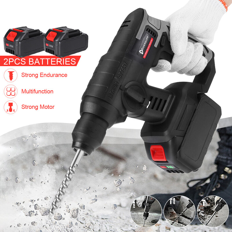 Rechargeable Electric Drill Tool Cordless Hammer Impact Drill Rotary Hammer Brushed 15000mAh Battery