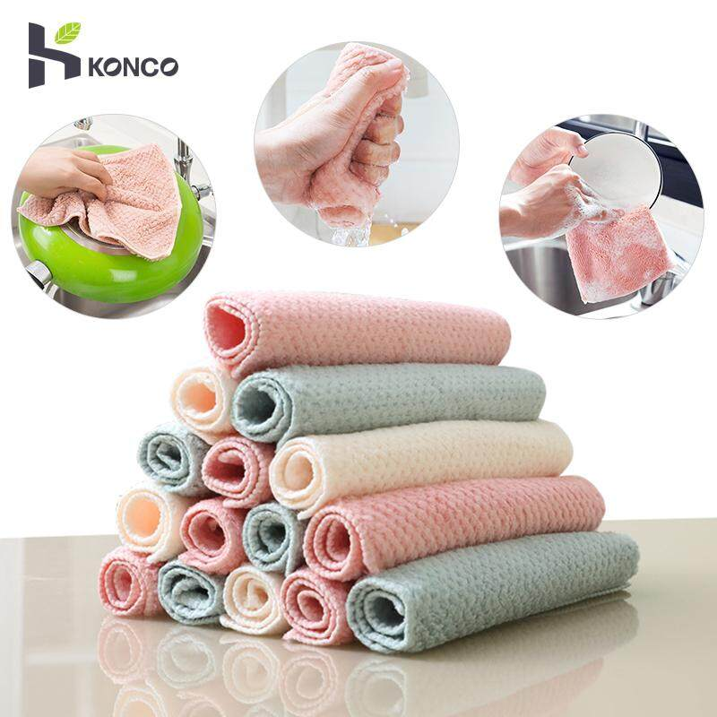 Konco Kitchen Scouring Pad Dish Pot Cleaning Cloth Absorbent Dishcloth Dish  Towel Napery Kitchen Rag Thickened Anti-oil Cleaning Tool-(Random Color)