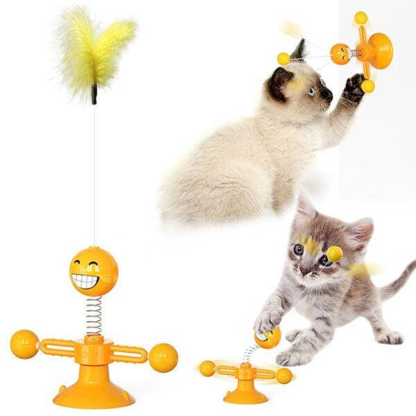 Pet Cối Xay Gió Trêu Chọc Đồ Chơi Tương Tác, Mèo Đồ Chơi, Bàn Xoay Huấn Luyện Câu Đố Gậy Mèo Vui Nhộn Với Catnip Lông Pet Nguồn Cung Cấp