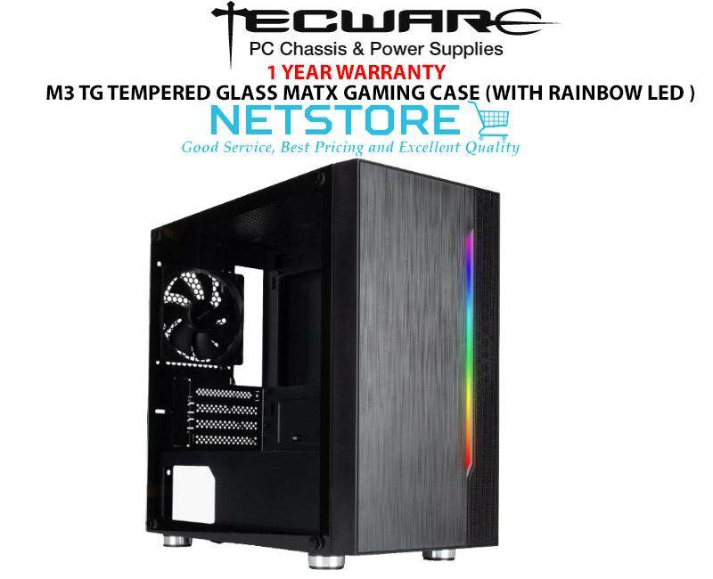 Tecware M3 MicroATX Tempered Glass Gaming Casing (WITH RAINBOW LED AT FRONT) Malaysia