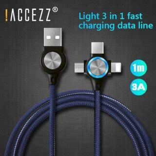 ACCEZZ Cáp USB Denim 3 Trong 1, Cáp Sạc Cho iPhone 11 12 Pro Xs X 3 In 1 Dây Đồng Bộ Dữ Liệu Điện Thoại Di Động Android Xiaomi Samsung Huawei thumbnail