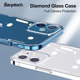 Sanptoch Vỏ điện thoại bằng kính kim cương cho iPhone 11 12 13 Pro Max Mini Vỏ trong suốt mỏng cho iPhone X Xs Max XR SE 2020 Vỏ bảo vệ ống kính máy ảnh đầy đủ chống va đập thumbnail