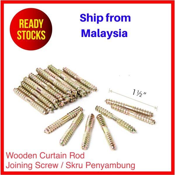 BUYNSAVE READY STOCK Wooden Curtain Rod 28mm Accessories Batang Kayu Langsir Aksesori Accessory Drapery Pole - Joining Screw Skru Penyambung Sambung 10pcs