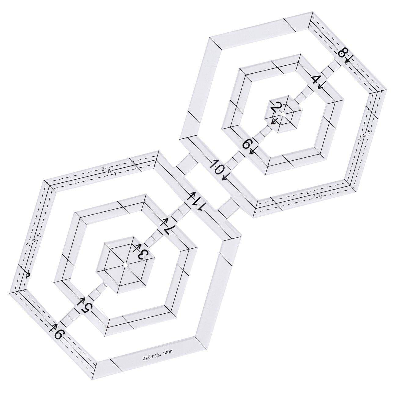 Hot Sales Double hexagonal acrylic patchwork patchwork tool patchwork hand-made ruler