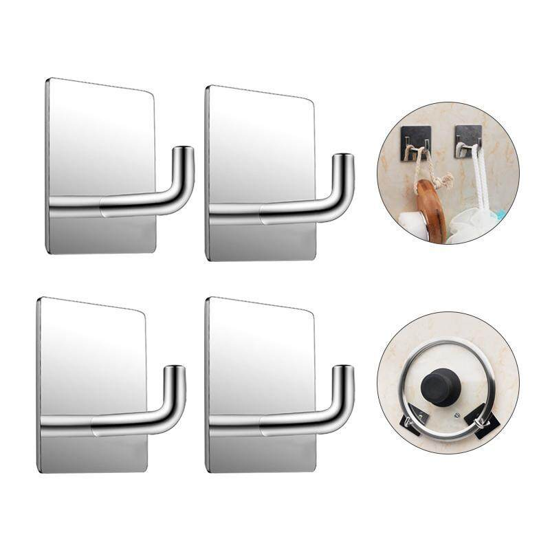 SilyNew 4 Pack of Stainless Steel Square Small Hooks 3M Self Adhesive Hooks Stick on Wall Hooks For Bathrooms Lavatory,Kitchen,Wall Mount Heavy Duty ,Coat, Towel, Keys