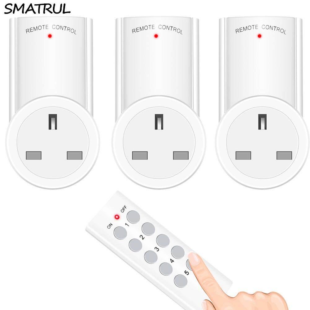 SMATRUL Wireless smart Remote Control Socket  Timer Plug wall Programmable Electrical UK Plug Outlet Switch 220v 230v LED Lights 1 Controller 3 Socket