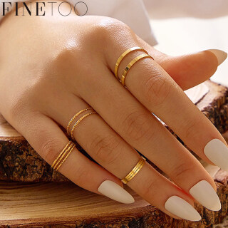 FINE TOO Vintage Gold Sliver Ring Set Simple Fashion Finger Rings Women Wedding Jewelry Accessories Gift thumbnail