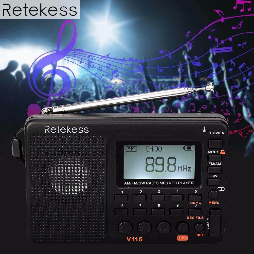Retekess V115 Fm Radio Music Player Am/fm/sw Recorder Pocket Receiver Shortwave Transistor Receiver Tf Card Usb Rec Recorder Fm Tuner Adapter By Jyunkang Store.